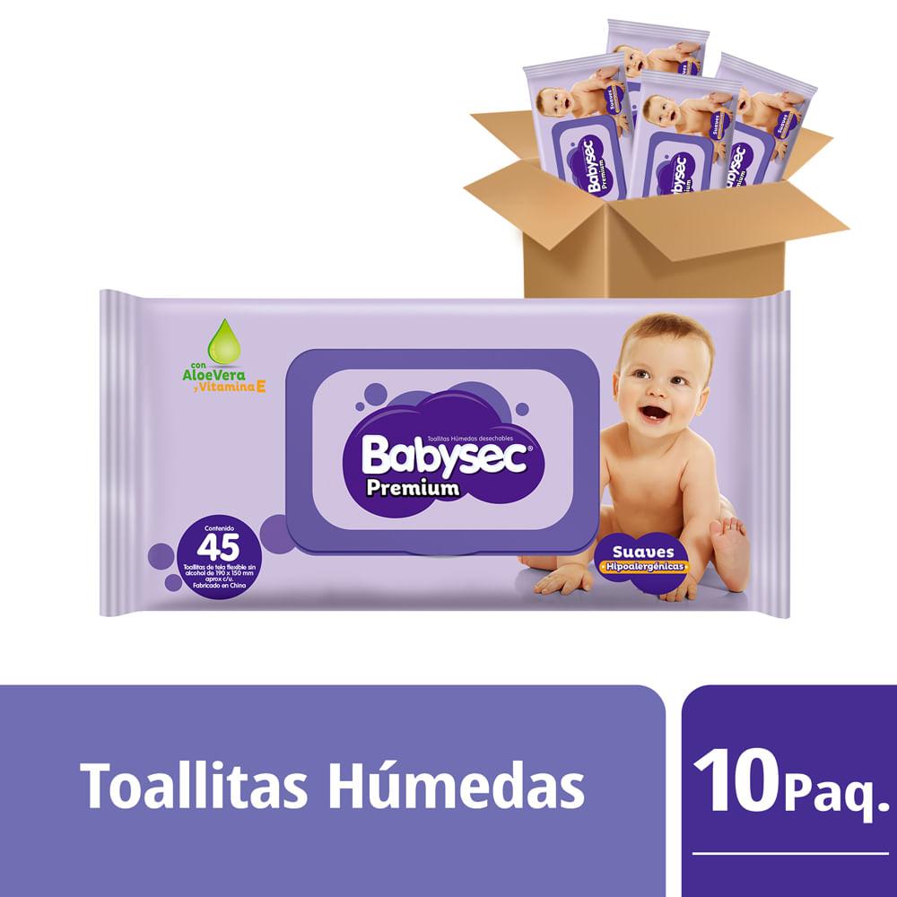 Packs Toallas Humedas Babysec Premium Flexiprotect 10 paq 45 un