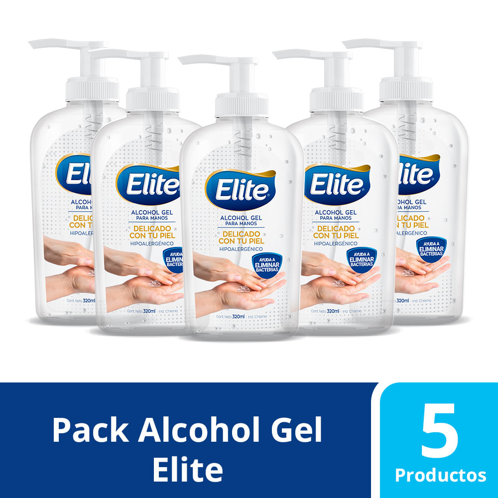 Pack 5 Alcohol Gel Elite Hipoalergenico 320 ml